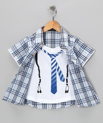 Blue Tie Layered Button-Up - Boys