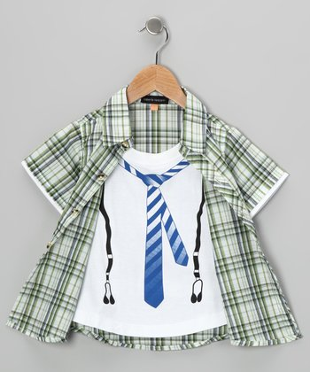 Green Tie Layered Button-Up - Boys