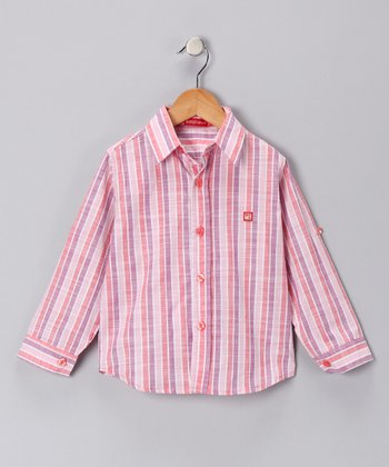 Pink & Purple Plaid Button-Up Shirt - Toddler & Boys