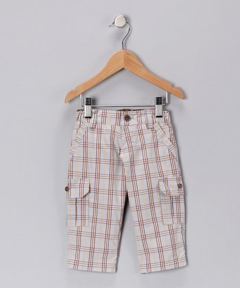 Light Blue & Brown Plaid Cargo Pants - Infant, Toddler & Boys