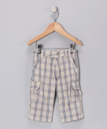 Tan & Gray Plaid Cargo Pants - Infant