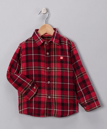 Fire Red Plaid Button-Up Shirt - Toddler & Boys