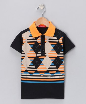 Orange & Black Argyle Polo - Toddler & Boys