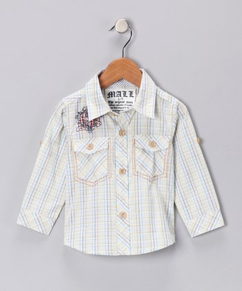 White & Green Plaid Button-Up Shirt - Infant
