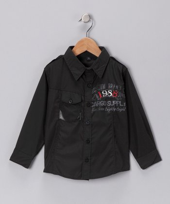 Black '1988' Button-Up Shirt - Infant & Toddler