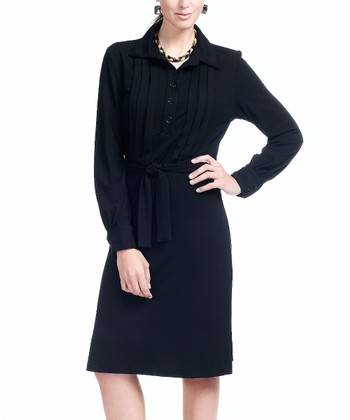 Onyx Pleated Nursing Button-Up Dress