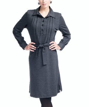 Charcoal Heather Nursing Button-Up Dress