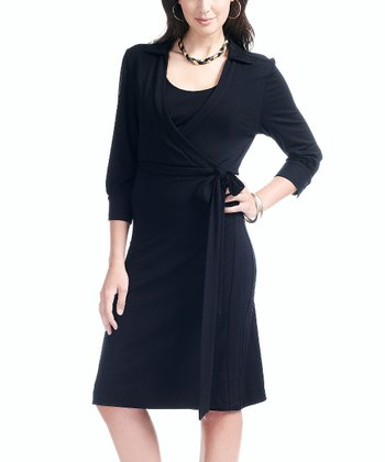 Onyx Nursing Wrap Dress