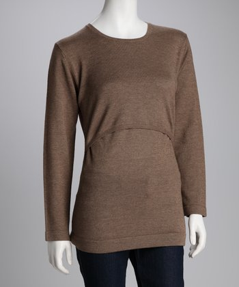 Coffee Wool Maternity & Nursing Sweater
