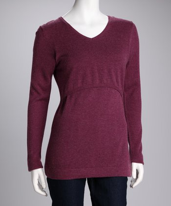Amarath Wool Maternity & Nursing V-Neck Sweater