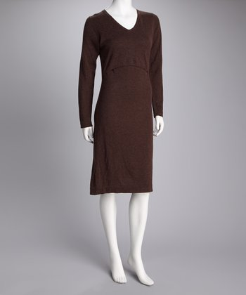 Brown Wool Maternity & Nursing Dress