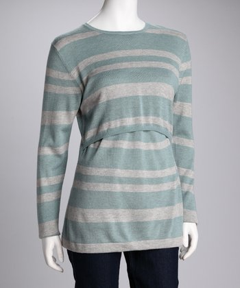 Aqua & Gray Stripe Wool Maternity & Nursing Sweater
