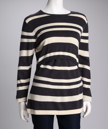 Blue & Creme Stripe Wool Maternity & Nursing Sweater