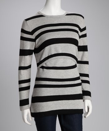 Gray & Black Stripe Wool Maternity & Nursing Sweater