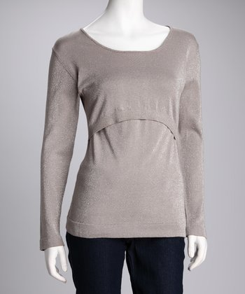 Gray Maternity & Nursing Scoop Neck Sweater