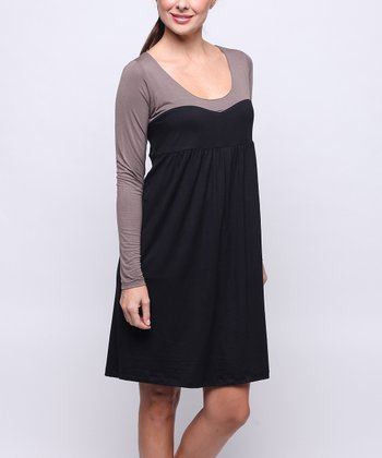 Black & Brown Layered Maternity & Nursing Dress