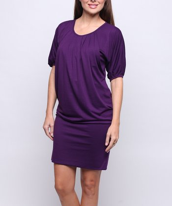 Purple Operetta Maternity & Nursing Tunic Dress - Women