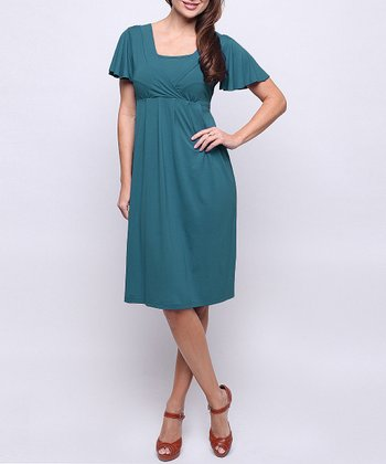 Teal Midnight Maternity & Nursing Dress