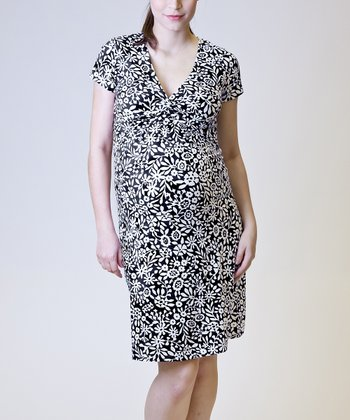 Black & White Floral Maternity & Nursing Dress - Women