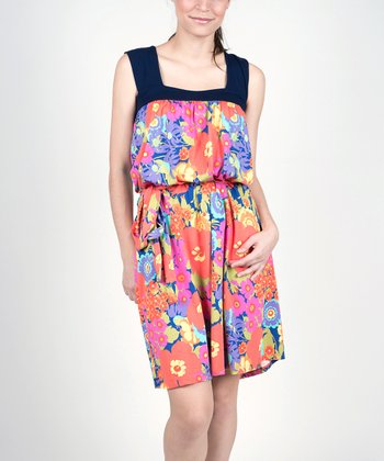Colorful Flowers Maternity & Nursing Dress
