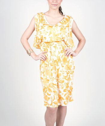 Yellow Floral My Joy Maternity & Nursing Dress - Women