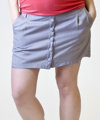 Stone Linen Under-Belly During & After Maternity Skirt - Women