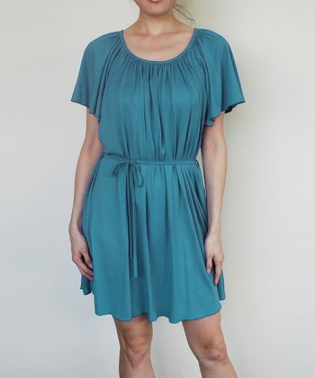 Blue Teal Fan Maternity & Nursing Dress