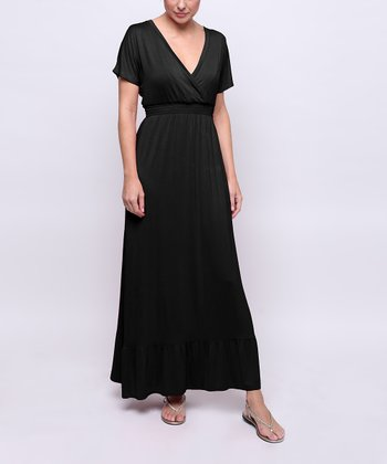 Black Kimono Maternity & Nursing Maxi Dress