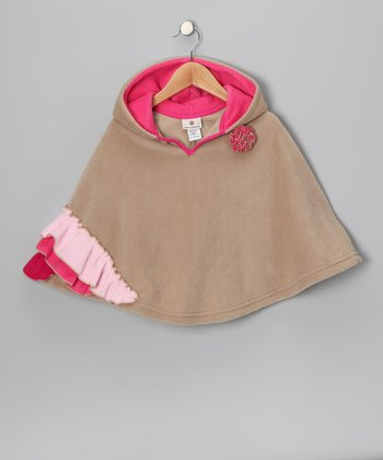 Butterscotch & Pink Ruffle Poncho - Infant, Toddler & Girls