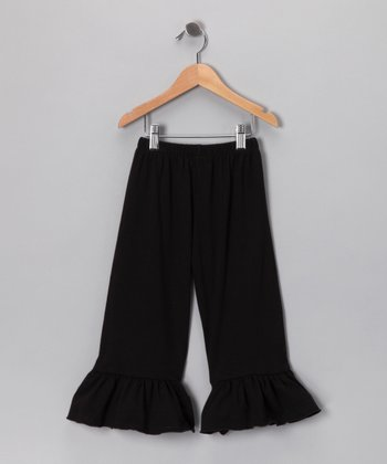 Black Ruffle Capri Pants - Girls