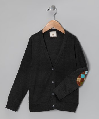 Dark Gray Argyle Elbow Patch Cardigan - Toddler & Boys