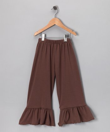 Chocolate Ruffle Capri Pants - Girls