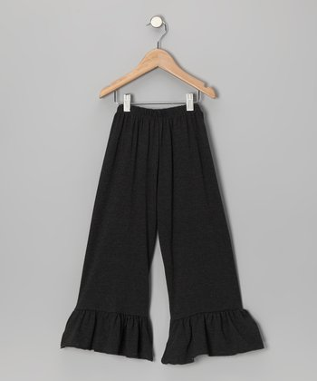 Charcoal Ruffle Capri Pants - Toddler & Girls