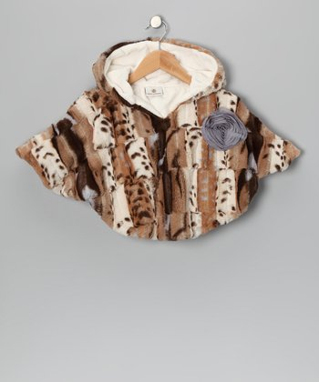 Brown Leopard Luxe Faux Fur Poncho - Infant, Toddler & Girls