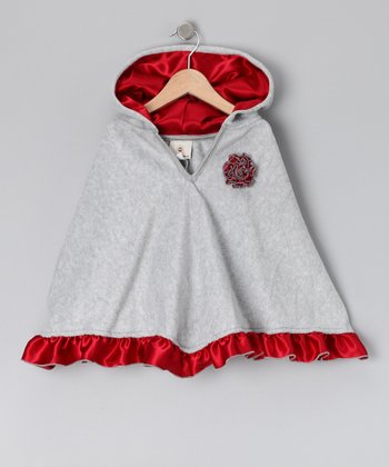 Gray & Red Satin Ruffle Poncho - Toddler & Girls