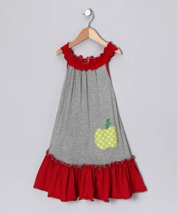Gray & Red Apple of My Eye Dress - Girls
