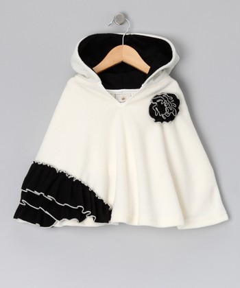 Ivory & Black Ruffle Poncho - Infant, Toddler & Girls