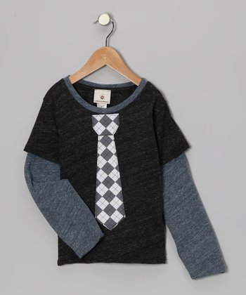 Charcoal Argyle Tie Layered Tee - Toddler & Boys