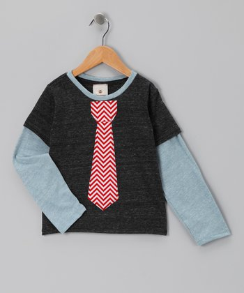 Charcoal & Red Tie Layered Tee - Toddler & Boys