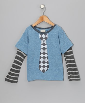 Light Blue & Gray Argyle Tie Layered Tee - Toddler & Boys