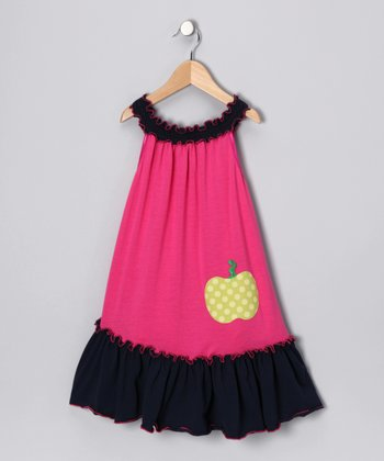 Navy & Pink Apple of My Eye Dress - Girls