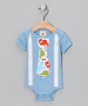 Blue Rainbow Tie & Suspenders Bodysuit - Infant