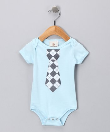 Light Blue Argyle Tie Bodysuit - Infant