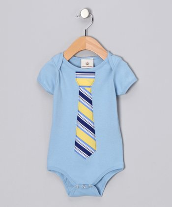 Million Polkadots Blue Malibu Stripe Tie Bodysuit - Infant