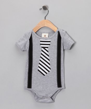 Gray Tie & Suspenders Bodysuit - Infant