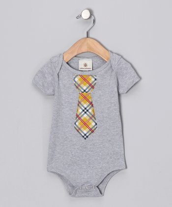 Gray & Yellow Plaid Tie Bodysuit - Infant