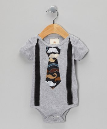 Gray Luxe Mustache Tie Bodysuit - Infant