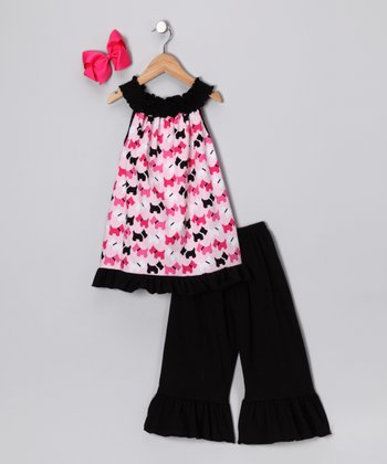 Fuchsia & Black Posh Puppy Tunic Set - Toddler & Girls