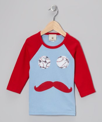 Red & Light Blue Mustache Raglan Tee - Toddler