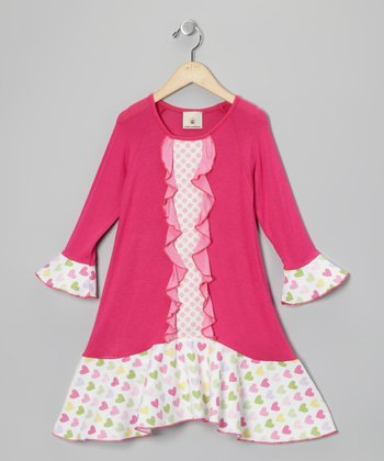 Pink Hearts Ruffle Raglan Dress - Toddler & Girls